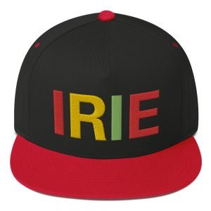 Irie Rasta Flat Bill Cap in Black and Red Cotton Twill. Classic Rasta Hats with embroidered letters in the rasta colors. The high-profile fit is available in six color combinations.