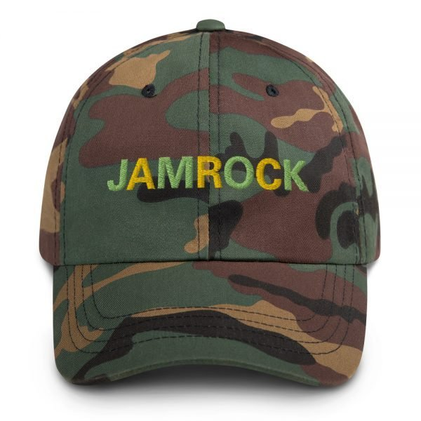 Jamrock Jamaican Dad hat in army camouflage. These hats aren't just for dads. This one's got a low profile with an adjustable strap and curved visor. Rasta Gear Shop Original Rastafarian Jamaican Reggae Merchandise and Clothing.
