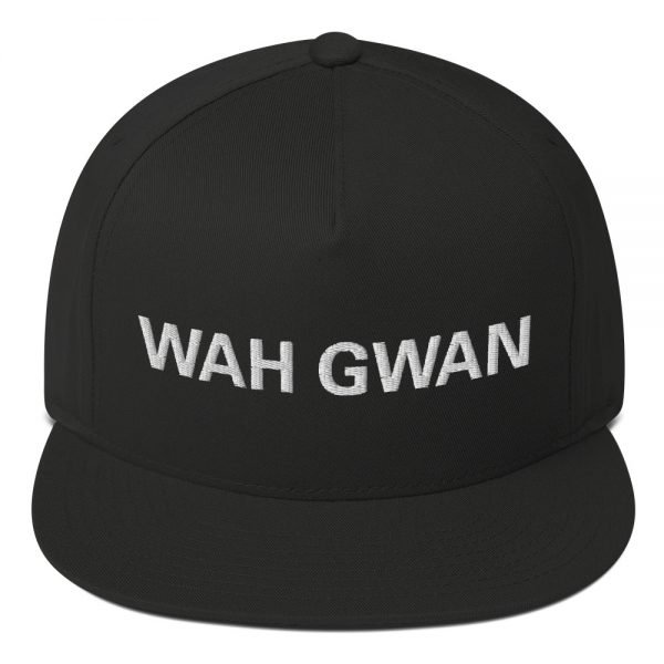 Wah Gwan Flat Bill Cap in black. Jamaican Rasta Patwa Embroidered Cap. The high-profile fit and a green undervisor make this cap a classic with an added pop.