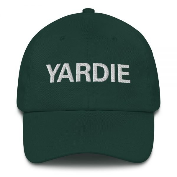 Yardie Dad hat in forest green. These Jamaican Patois Rasta caps aren't just for dads. This one's got a low profile with an adjustable strap and curved visor. Quality Rasta Reggae and Jamaican Merchandise available at rastagearshop.com