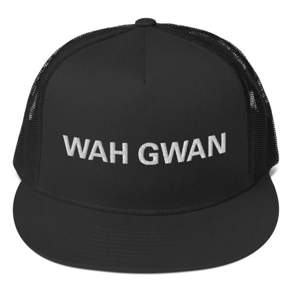 Wah Gwan Trucker Cap. Classic Jamaican Patois trucker cap style with a cool fabric blend. Rasta Gear Shop original Jamaican Reggae and Rastafarian merchandise, clothing, hats and shoes.