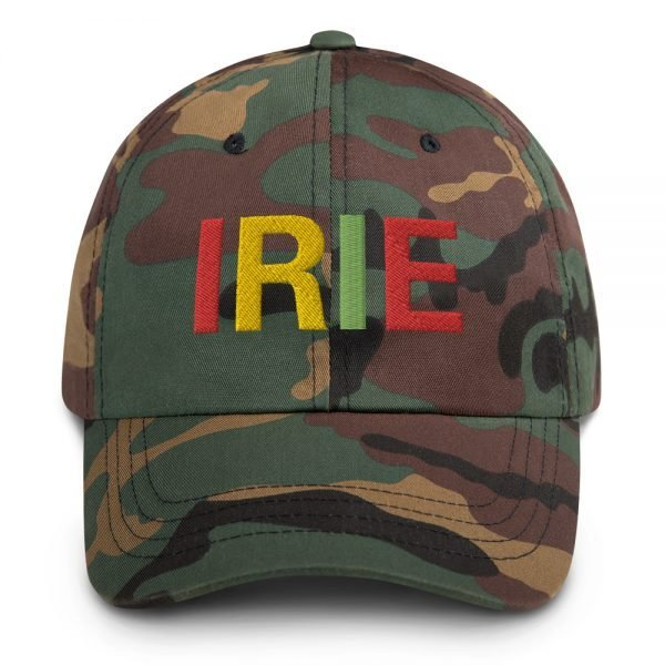 Irie Rasta Dad Hat in camouflage military style with embroidered letters in the Rasta colors. Rasta hats and caps. This one's got a low profile with an adjustable strap.Rasta Gear Shop original clothing hats and merchandise.
