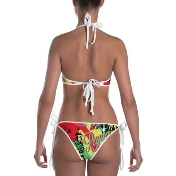 Reggae Party Reversible Bikini. This Cute reversible design in either blues or rasta reggae colors. Feel the heat with this bright and comfortable bikini. The top is similar in style to a sports bra for extra support and a great look while lounging on sandy beaches. Rasta Gear Shop Design.