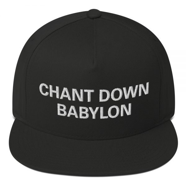 Chant Down Babylon Flat Bill Cap in black cotton twill. The high-profile fit and a green under-visor make this rasta cap a classic with an added pop of color. Rasta Gear Shop Original Rastafarian, Jamaican and Reggae Designs on Merchandise and Clothing.
