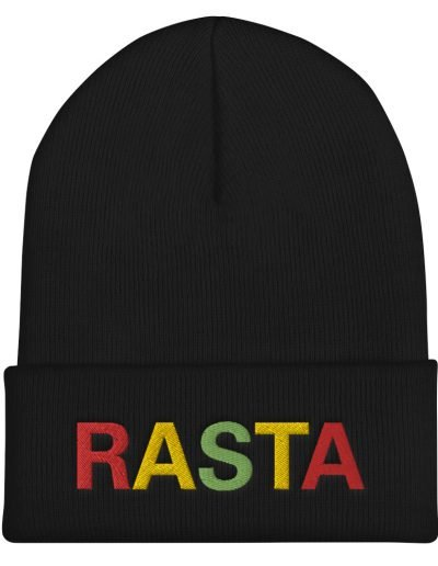 Rasta Cuffed Beanie in black. A snug, form-fitting reggae beanie. Rastagearshop original design embroidered in the reggae colors.