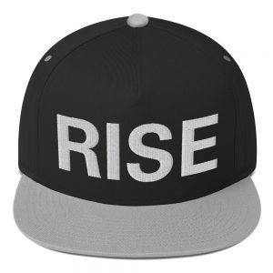 Rise Flat Bill Cap in black and grey. The high-profile fit and a green undervisor make this cap a classic. Rastafarian, Reggae and Jamaican gear.