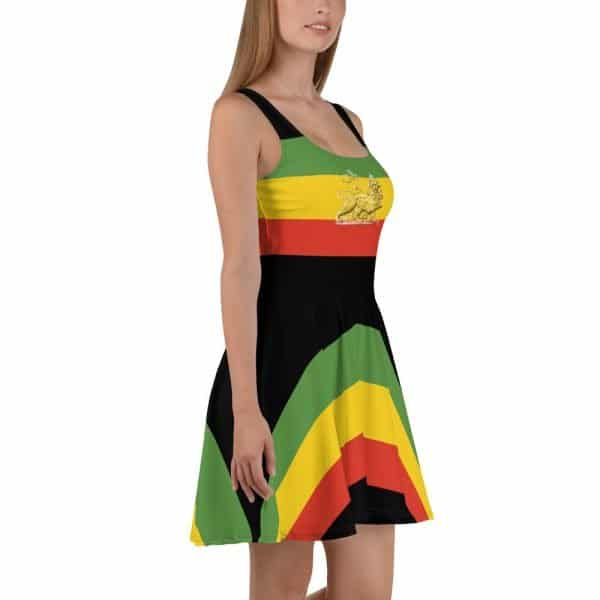 Lion of Judah Skater Dress. Rasta flag colors, Dress to impress with this sleeveless skater dress! The soft fabric and flared skirt give it an elegant twist that brings out the intricate design with a beautiful vibrancy. Rasta Gear Shop Original Design.