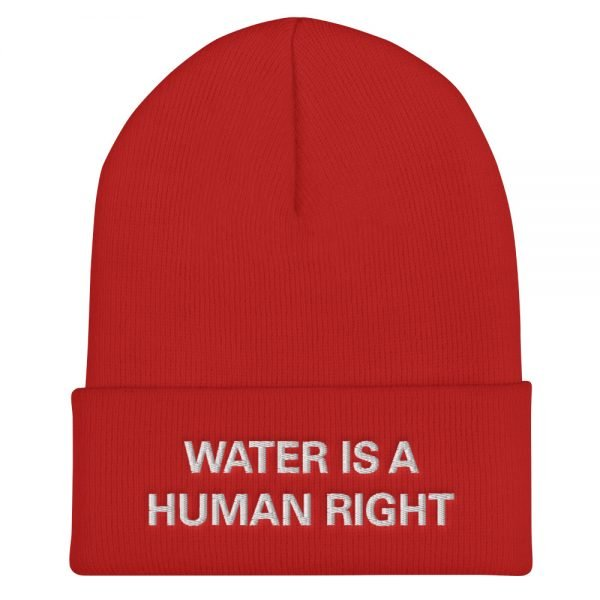 Water is a Human Right Cuffed Beanie in red. A snug, form-fitting beanie. It's not only a great head-warming piece but a staple accessory in anyone's wardrobe. Rasta Gear Shop Original Rastafarian Jamaican Reggae Merchandise and Clothing.