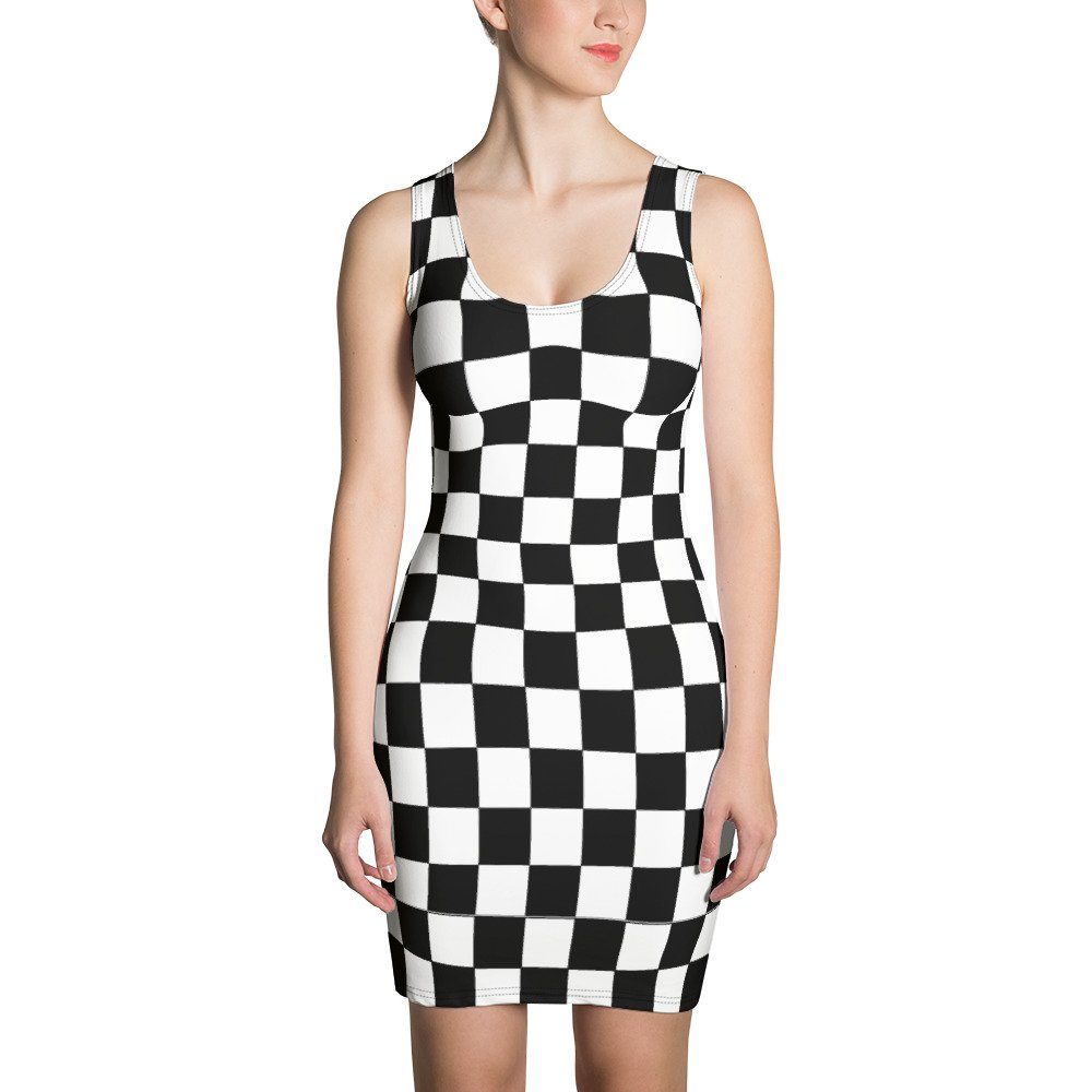 Reggae Ska Bodycon Dress.Dance the night away in this black and white chequerboard Jamaican reggae dress. Make a statement and look fabulous in this all-over printed, fitted dress. Rasta Gear Shop Design.