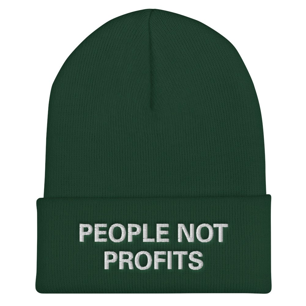 People not Profits beanie. Rasta beanie in a selection of colors. Chant down Babylon Protect Old Growth Forests, manage water and conserve soil.