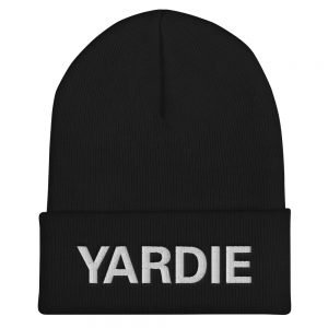 Yardie Cuffed Beanie in black turbo acrylic. A snug, Jamaican Patois hat. Rasta Gear Shop original reggae Jamaican and Rastafarian Designs on merchandise.