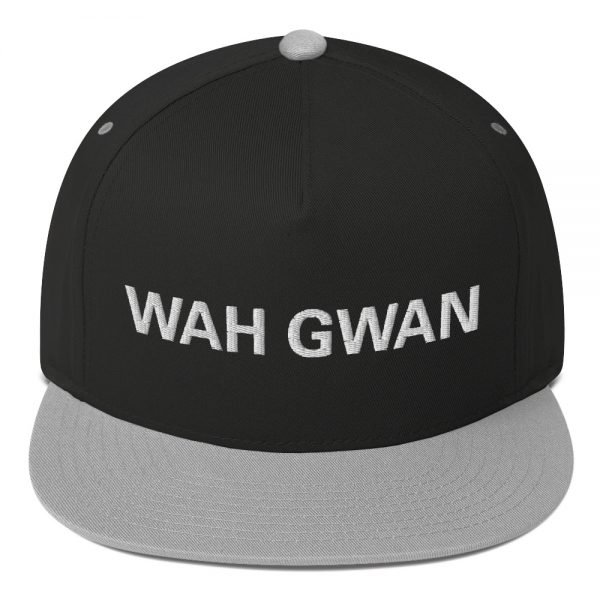 Wah Gwan Flat Bill Cap in black and grey. Jamaican Rasta Patwa Embroidered Cap. The high-profile fit and a green undervisor make this cap a classic with an added pop.