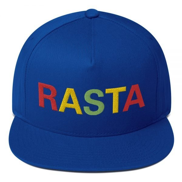 Rasta flat bill cap royal blue and embroidered in the reggae colors. This reggae hat as a high-profile fit and a green undervisor.
