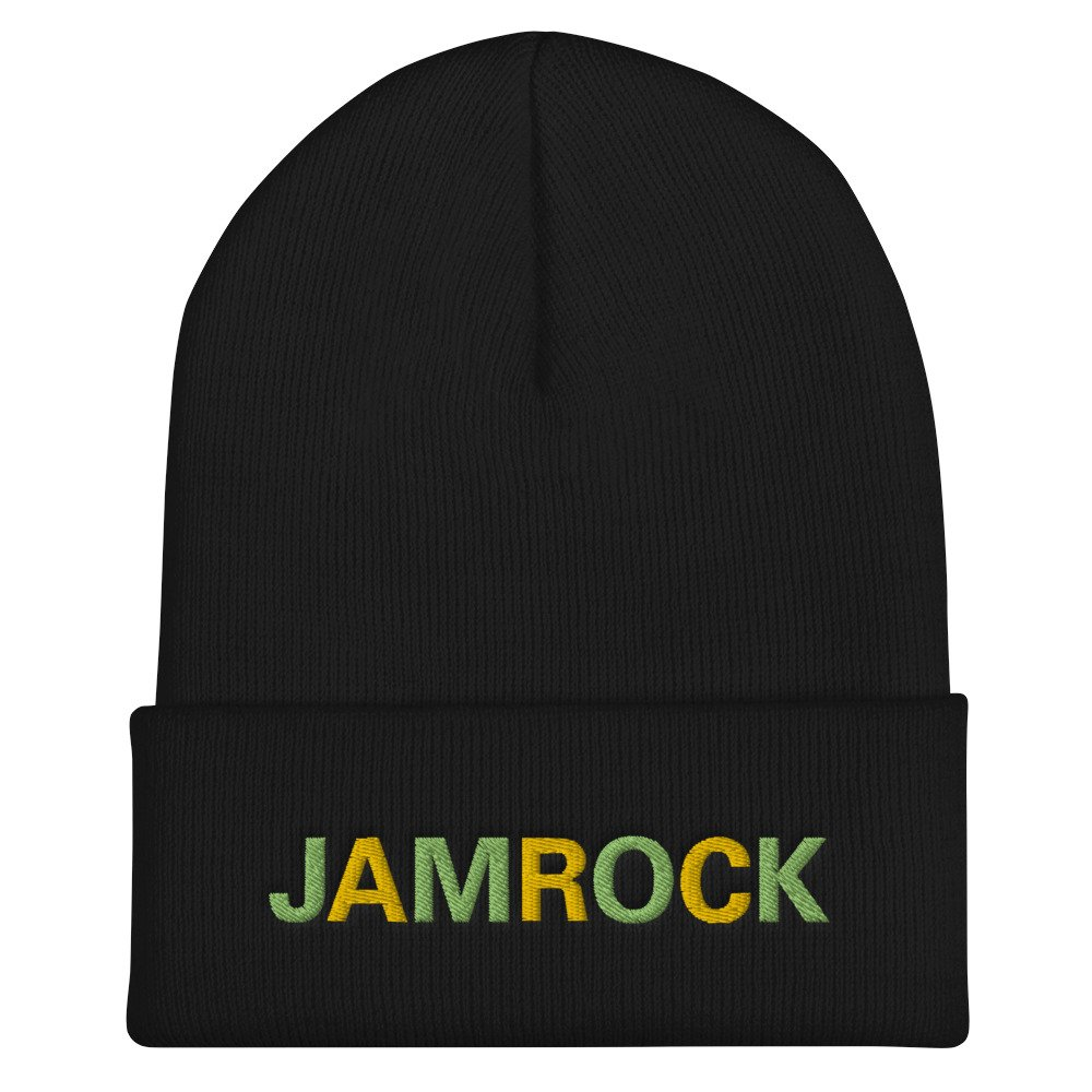 Jamrock Jamaican Rasta Beanie in black. A snug, form-fitting beanie. It's not only a great head-warming piece but a staple accessory in anyone's wardrobe. Rasta Gear Shop Original Rastafarian Reggae Jamaican Designs on clothing and Merchandise.