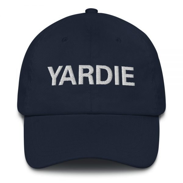 Yardie Dad hat in navy blue. These Jamaican Patois Rasta caps aren't just for dads. This one's got a low profile with an adjustable strap and curved visor. Quality Rasta Reggae and Jamaican Merchandise available at rastagearshop.com