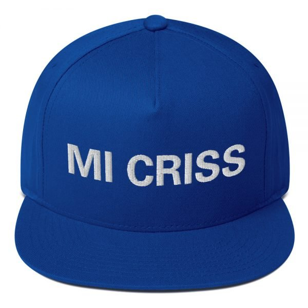 Mi Criss Rasta flat bill cap in royal blue. Jamaican patois embroidered letters. Classic Jamaican Cap. The high-profile fit and a green undervisor make this cap a classic with an added pop of color.Rastagearshop quality Jamaican merchandise.