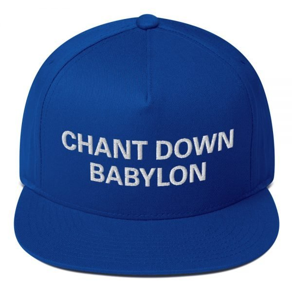 Chant Down Babylon Flat Bill Cap in red and royal blue cotton twill. The high-profile fit and a green under-visor make this rasta cap a classic with an added pop of color. Rasta Gear Shop Original Rastafarian, Jamaican and Reggae Designs on Merchandise and Clothing.