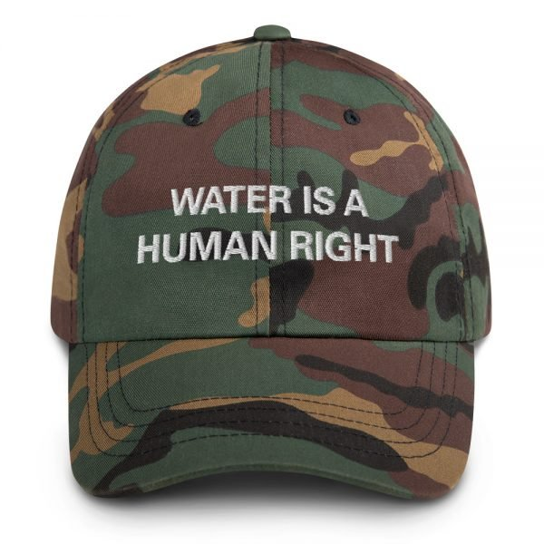 Water is a human right dad hat in army camouflage. Dad hats aren't just for dads. This one's got a low profile with an adjustable strap and curved visor. Rasta Gear Shop Original Rastafarian Jamaican Reggae Merchandise and Clothing.