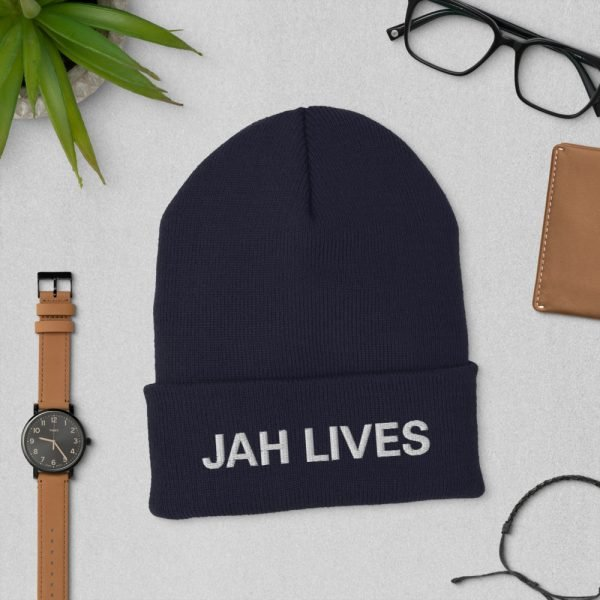 Jah Lives Cuffed Beanie turbo acrylic in navy blue. A snug, form-fitting beanie. Rasta Gear Shop Original Design