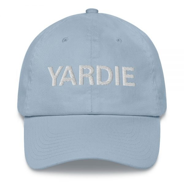 Yardie Dad hat in baby blue These Jamaican Patois Rasta caps aren't just for dads. This one's got a low profile with an adjustable strap and curved visor. Quality Rasta Reggae and Jamaican Merchandise available at rastagearshop.com