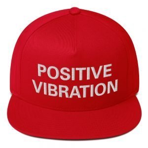 Positive Vibration flat bill cap in red. Rasta Gear Shop original Reggae, Jamaican and Rastafarian designs on merchandise.