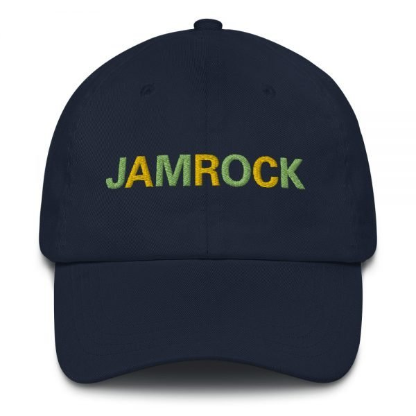 Jamrock Jamaican Dad hat in navy blue. These hats aren't just for dads. This one's got a low profile with an adjustable strap and curved visor. Rasta Gear Shop Original Rastafarian Jamaican Reggae Merchandise and Clothing.