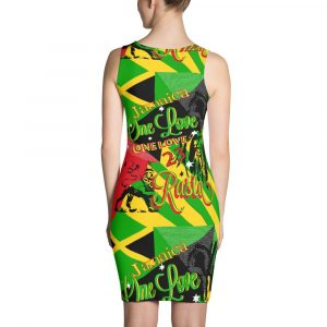 Jamaican Reggae Rasta Dress. Make a statement and look fabulous in this sexy all-over printed, fitted dress. Jamaican Flag, Lion of Judah, One Love and Rasta Designs in the Rasta and Jamaican colors. Rastagearshop Original Rastafarian Reggae and Jamaican Designs on clothing and merchandise.