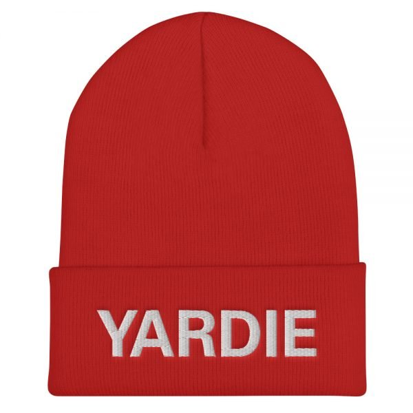 Yardie Cuffed Beanie in red. A snug, Jamaican Patois hat. Rasta Gear Shop original reggae Jamaican and Rastafarian Designs on merchandise.