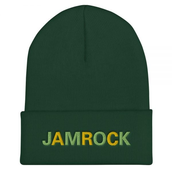 Jamrock Jamaican Rasta Beanie in forest green. A snug, form-fitting beanie. It's not only a great head-warming piece but a staple accessory in anyone's wardrobe. Rasta Gear Shop Original Rastafarian Reggae Jamaican Designs on clothing and Merchandise.