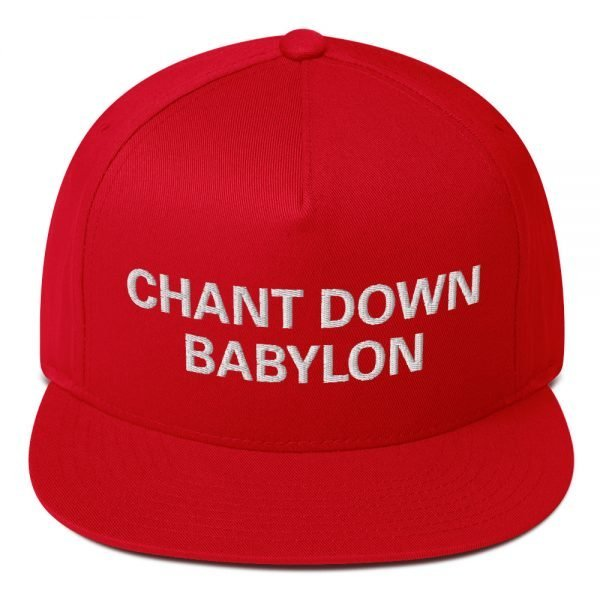 Chant Down Babylon Flat Bill Cap in red cotton twill. The high-profile fit and a green under-visor make this rasta cap a classic with an added pop of color. Rasta Gear Shop Original Rastafarian, Jamaican and Reggae Designs on Merchandise and Clothing.