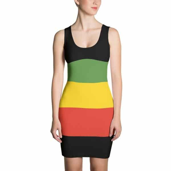 Rasta Bodycon Dress in the reggae colors. Make a statement and look fabulous in this all-over printed, fitted dress. Rasta Gear Shop original designs on merchandise, clothing, hats and accessories.