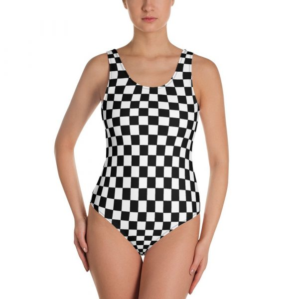 Reggae Ska One-Piece Swimsuit.Gorgeous black and white chequerboard swimmers. This one-piece swimsuit for all figures will bring out your best features. Enjoy the smooth fabric and the flattering design, and show it off by the sea or pool. Rastagearshop original design.