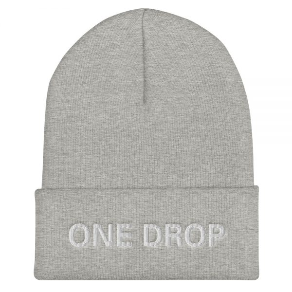 One Drop Reggae cuffed beanie in grey at Rastagearshop. Embroidered reggae beanie in a snug, form-fitting style. Original Rasta Merchandise Hats and Clothing.