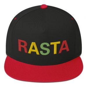 Rasta flat bill cap red and black and embroidered in the reggae colors. This reggae hat as a high-profile fit and a green undervisor.