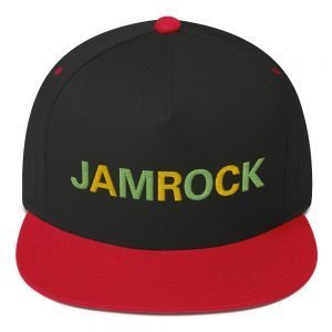 Jamrock Jamaican cap in black and red. The high-profile fit and a green under-visor make this cap a classic with an added pop of color. Rasta Gear Shop Original Rastafarian Reggae Jamaican Designs on clothing and Merchandise.