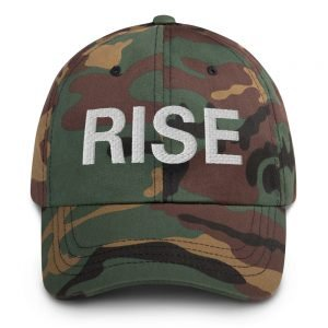 Rise Dad Hat in a camouflage military style. Rasta cap with a low profile with an adjustable strap and curved visor. Rastafarian, Reggae and Jamaican merchandise.