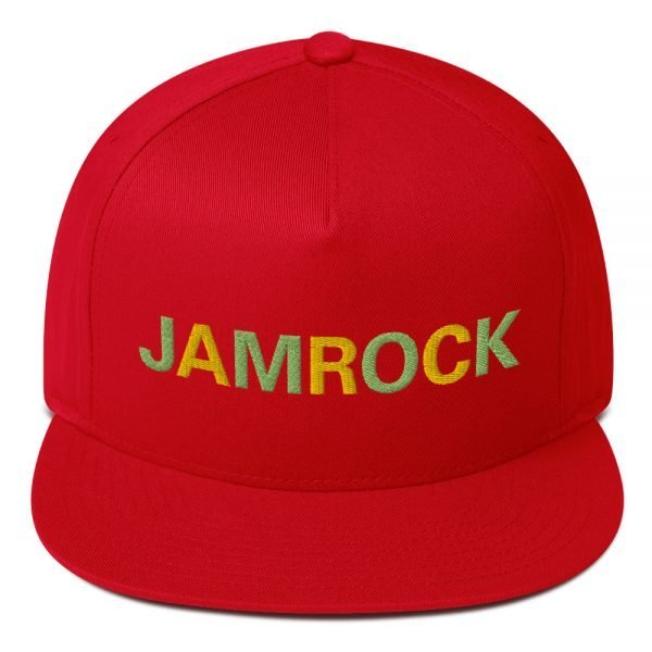Jamrock Jamaican cap in red. The high-profile fit and a green under-visor make this cap a classic with an added pop of color. Rasta Gear Shop Original Rastafarian Reggae Jamaican Designs on clothing and Merchandise.