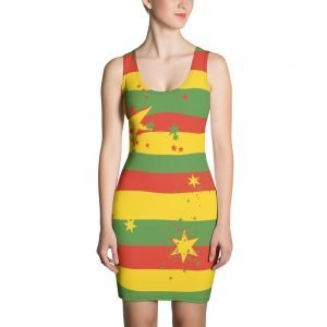 Rasta Reggae Stars and Stripes Bodycon Sexy Dress in reggae colors. Jamaican Reggae Rastafarian clothing at Rasta Gear Shop