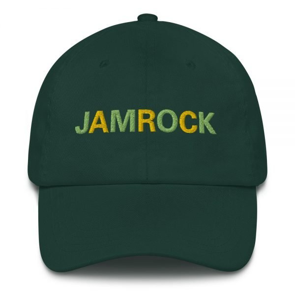 Jamrock Jamaican Dad hat in forest green. These hats aren't just for dads. This one's got a low profile with an adjustable strap and curved visor. Rasta Gear Shop Original Rastafarian Jamaican Reggae Merchandise and Clothing.