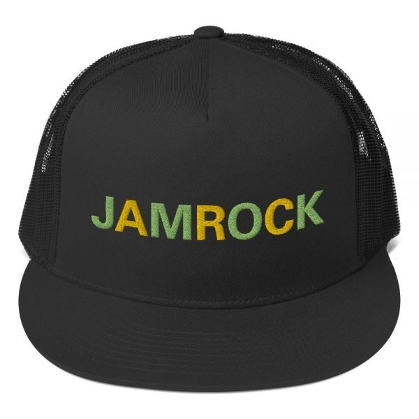 Jamrock Jamaican trucker cap classic style with a cool fabric blend. Rasta Gear Shop Original Rastafarian Reggae Jamaican Designs on clothing and Merchandise.