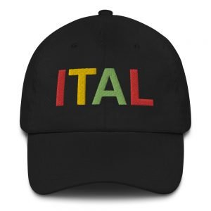 Ital Rasta Dad hat in black. These rasta hats aren't just for dads.Original reggae design in rasta colors.
