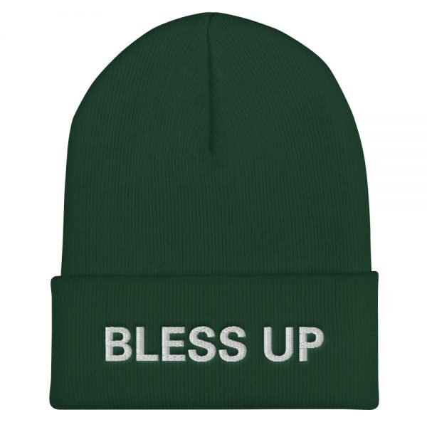 Bless Up cuffed beanie in forest green. A snug, form-fitting beanie. It's not only a great head-warming piece but a staple accessory in anyone's wardrobe. Rasta Gear Shop Original Rastafarian Jamaican Reggae Merchandise and Clothing.