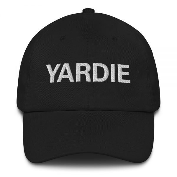 Yardie Dad hat in black. These Jamaican Patois Rasta caps aren't just for dads. This one's got a low profile with an adjustable strap and curved visor. Quality Rasta Reggae and Jamaican Merchandise available at rastagearshop.com