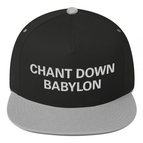 Chant Down Babylon Flat Bill Cap in grey and black cotton twill. The high-profile fit and a green under-visor make this rasta cap a classic with an added pop of color. Rasta Gear Shop Original Rastafarian, Jamaican and Reggae Designs on Merchandise and Clothing.