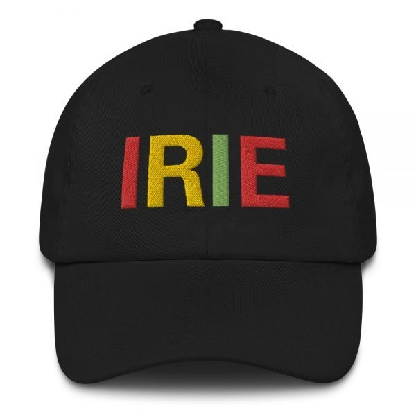 Irie Rasta Dad Hat in black with embroidered letters in the Rasta colors. Rasta hats and caps. This one's got a low profile with an adjustable strap.Rasta Gear Shop original clothing hats and merchandise.