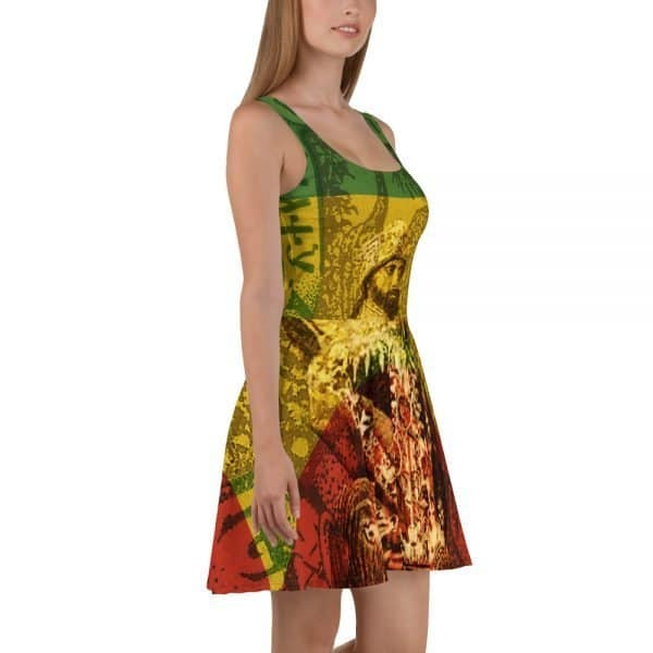Haile Selassie Skater Dress. Hail the King in this sleeveless rasta skater dress. King of Kings Rasta Design. The soft fabric and flared skirt give it an elegant twist that brings out the intricate design with a beautiful vibrancy. King of Kings Lord of Lords Conquering Lion of the Tribe of Judah. Rastagearshop original designs on clothing and merchandise.