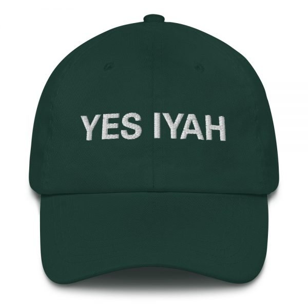 Yes Iyah Dad Hat in forest green. Jamaican Rasta Dad hats aren't just for dads. This one's got a low profile with an adjustable strap and curved visor. Rasta Gear Shop Original Rastafarian, Jamaican and Reggae Designs on Merchandise and Clothing.