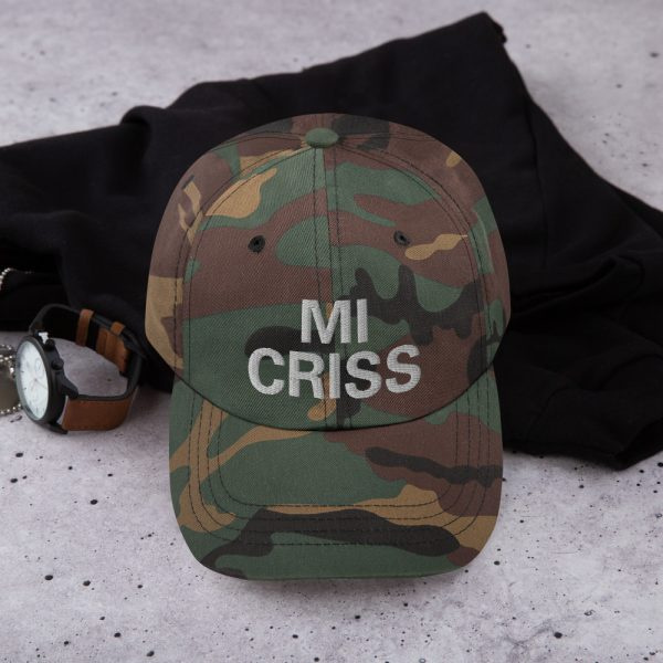 Mi Criss Dad in army camouflage style Hat Jamaican Patois embroidered cap. Dad hats aren't just for dads. This one's got a low profile with an adjustable strap and curved visor. Rasta Gear Shop original Rastafarian, Reggae and Jamaican merchandise, hats, clothing and shoes.