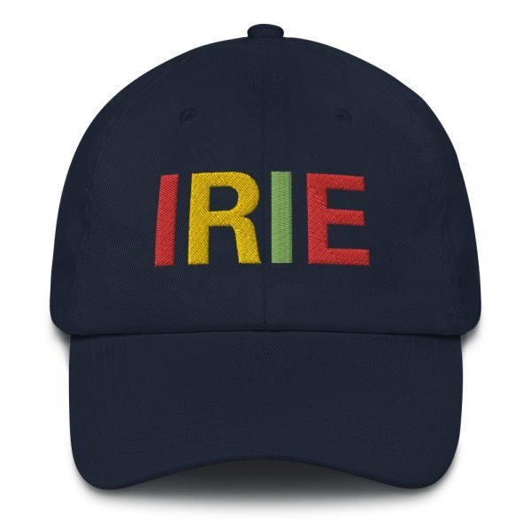 Irie Rasta Dad Hat in navy blue with embroidered letters in the Rasta colors. Rasta hats and caps. This one's got a low profile with an adjustable strap.Rasta Gear Shop original clothing hats and merchandise.