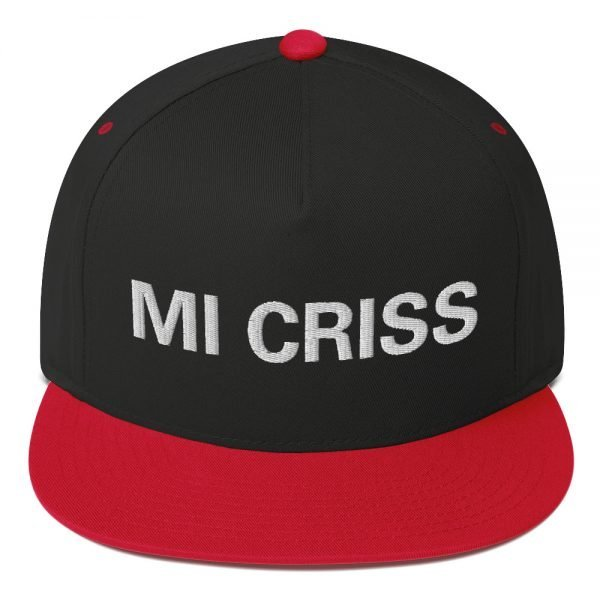 Mi Criss Rasta flat bill cap in black and red. Jamaican patois embroidered letters. Classic Jamaican Cap. The high-profile fit and a green undervisor make this cap a classic with an added pop of color.Rastagearshop quality Jamaican merchandise.